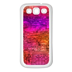 Purple Orange Pink Colorful Art Samsung Galaxy S3 Back Case (White)