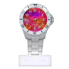 Purple Orange Pink Colorful Art Plastic Nurses Watch