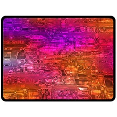 Purple Orange Pink Colorful Art Double Sided Fleece Blanket (Large)