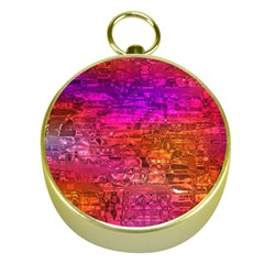 Purple Orange Pink Colorful Art Gold Compasses