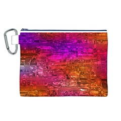 Purple Orange Pink Colorful Art Canvas Cosmetic Bag (L)