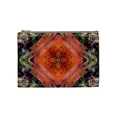 Boho Bohemian Hippie Floral Abstract Faded  Cosmetic Bag (Medium)
