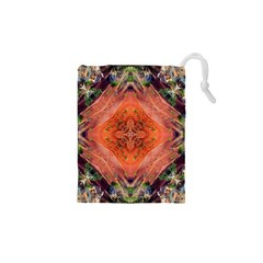 Boho Bohemian Hippie Floral Abstract Faded  Drawstring Pouches (XS)