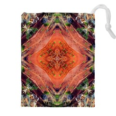 Boho Bohemian Hippie Floral Abstract Faded  Drawstring Pouches (XXL)