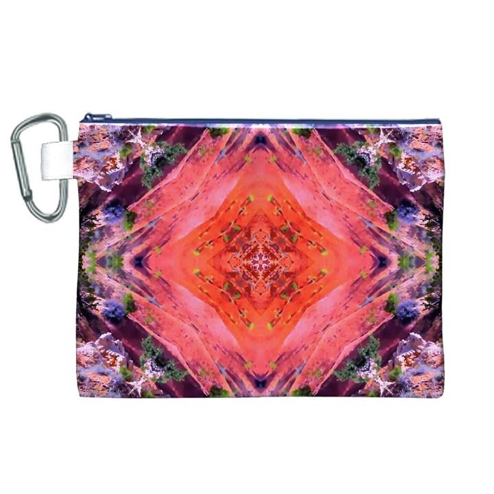 Boho Bohemian Hippie Retro Tie Dye Summer Flower Garden design Canvas Cosmetic Bag (XL)
