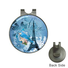Girly Blue Bird Vintage Damask Floral Paris Eiffel Tower Hat Clip With Golf Ball Marker