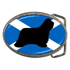Bearded Collie Silhouette Scotland Flag Belt Buckles