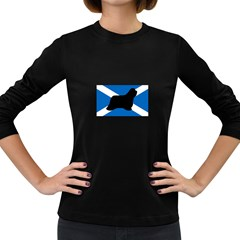 Bearded Collie Silhouette Scotland Flag Women s Long Sleeve Dark T-Shirts