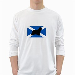 Bearded Collie Silhouette Scotland Flag White Long Sleeve T-Shirts