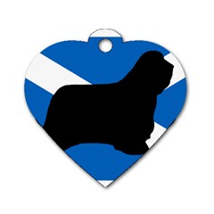 Bearded Collie Silhouette Scotland Flag Dog Tag Heart (One Side)