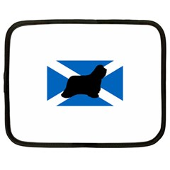 Bearded Collie Silhouette Scotland Flag Netbook Case (Large)