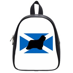 Bearded Collie Silhouette Scotland Flag School Bags (Small)