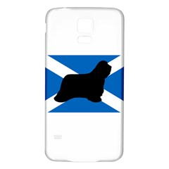 Bearded Collie Silhouette Scotland Flag Samsung Galaxy S5 Back Case (White)