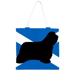 Bearded Collie Silhouette Scotland Flag Grocery Light Tote Bag
