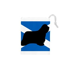 Bearded Collie Silhouette Scotland Flag Drawstring Pouches (XS)