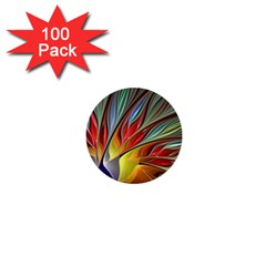 Fractal Bird Of Paradise 1  Mini Button (100 Pack)