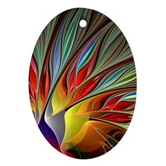 Fractal Bird of Paradise Oval Ornament (Two Sides)