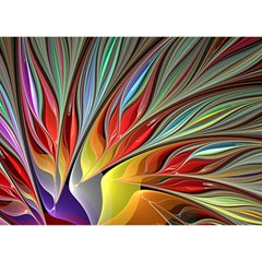Fractal Bird of Paradise Birthday Cake 3D Greeting Card (7x5)