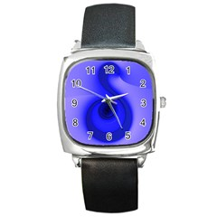 Blue Spiral Note Square Metal Watch