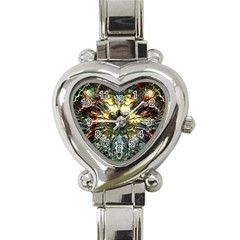 Metallic Abstract Flower Copper Patina Heart Italian Charm Watch