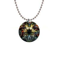 Metallic Abstract Flower Copper Patina Button Necklaces