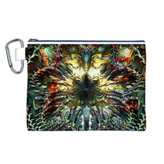 Metallic Abstract Flower Copper Patina Canvas Cosmetic Bag (L)