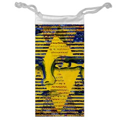 Conundrum II, Abstract Golden & Sapphire Goddess Jewelry Bags