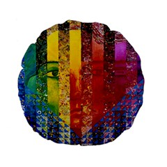 Conundrum I, Abstract Rainbow Woman Goddess  Standard 15  Premium Flano Round Cushions