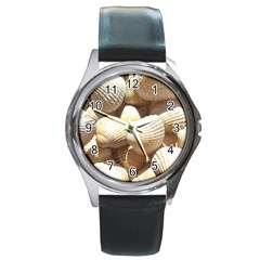 Tropical Exotic Sea Shells Round Metal Watch