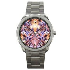 Fire Goddess Abstract Modern Digital Art  Sport Metal Watch