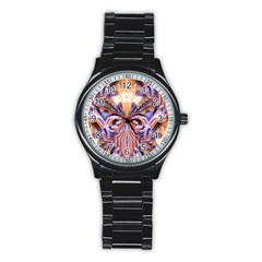 Fire Goddess Abstract Modern Digital Art  Stainless Steel Round Watch