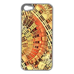Semi Circles Abstract Geometric Modern Art Orange Apple Iphone 5 Case (silver)