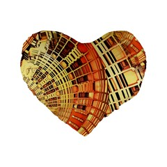 Semi Circles Abstract Geometric Modern Art orange Standard 16  Premium Heart Shape Cushions