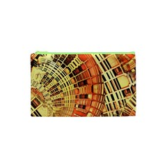Semi Circles Abstract Geometric Modern Art Orange Cosmetic Bag (xs)