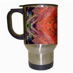 Boho Bohemian Hippie Floral Abstract Faded  Travel Mugs (White)