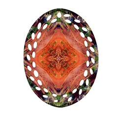Boho Bohemian Hippie Floral Abstract Faded  Ornament (Oval Filigree)