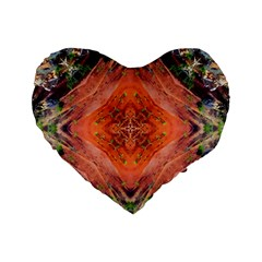 Boho Bohemian Hippie Floral Abstract Faded  Standard 16  Premium Flano Heart Shape Cushions