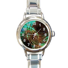 Metallic Abstract Copper Patina  Round Italian Charm Watch