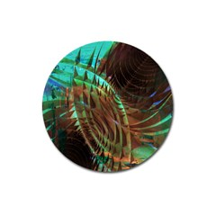 Metallic Abstract Copper Patina  Magnet 3  (round)