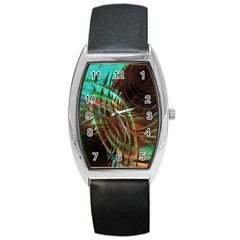 Metallic Abstract Copper Patina  Barrel Style Metal Watch