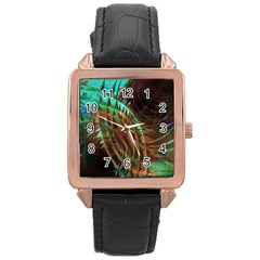 Metallic Abstract Copper Patina  Rose Gold Leather Watch