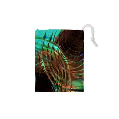 Metallic Abstract Copper Patina  Drawstring Pouches (XS)