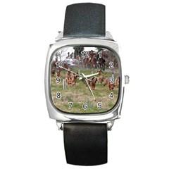 Bloodhounds Working Square Metal Watch