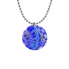 Semi Circles Abstract Geometric Modern Art Blue  Button Necklaces