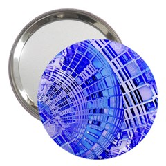 Semi Circles Abstract Geometric Modern Art Blue  3  Handbag Mirrors