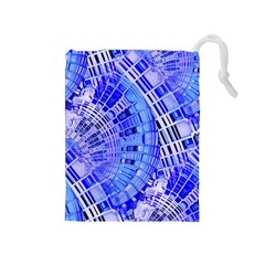 Semi Circles Abstract Geometric Modern Art Blue  Drawstring Pouches (Medium)