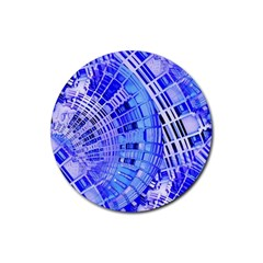 Semi Circles Abstract Geometric Modern Art Blue  Rubber Coaster (Round)