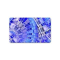 Semi Circles Abstract Geometric Modern Art Blue  Magnet (Name Card)