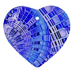 Semi Circles Abstract Geometric Modern Art Blue  Heart Ornament (2 Sides)