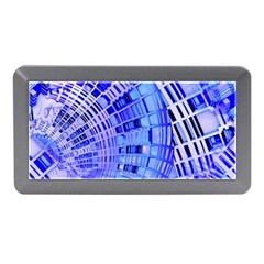Semi Circles Abstract Geometric Modern Art Blue  Memory Card Reader (Mini)
